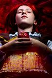 fantasy portrait of the beautiful lying Snow White with an apple
