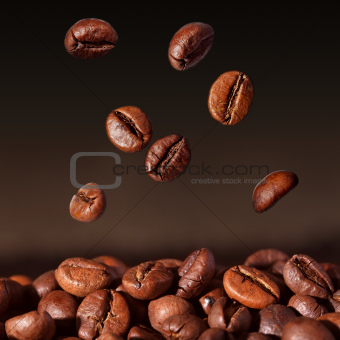 Coffee beans falling - closeup