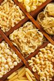 Pasta mix in compartmented wooden box