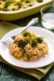 Pilaf with broccoli and lemon peel