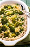 Pilaff with broccoli and lemon peel
