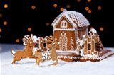 Christmas gingerbread cookie house and deers