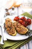 Stuffed zucchini with amaranth and vegetables