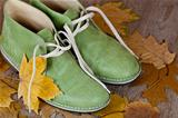 green leather boots and yellow leaves 