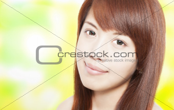 beautiful asian young woman face