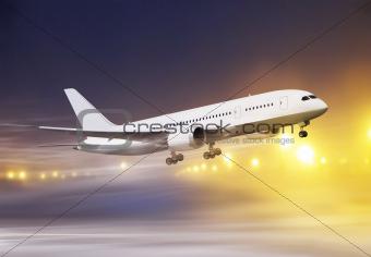plane in snowstorm