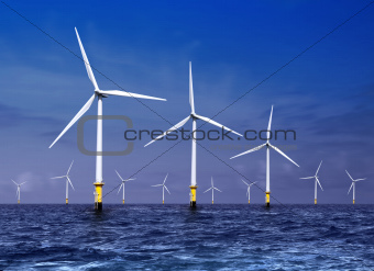 wind turbines on sea