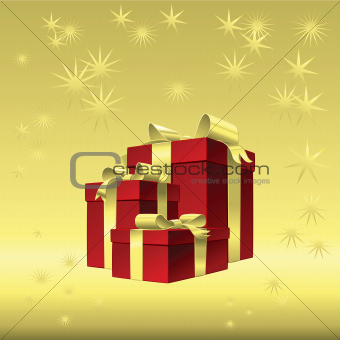 Vector red gift box with gold ribbon bow