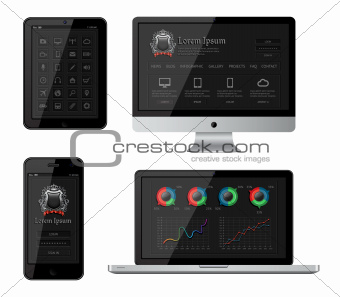 Isolated gadgets with infographics and web elements. EPS10 vector illustration.