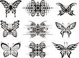 Set of symmetric butterfly tattoos