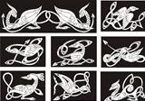 Celtic knot patterns with birds