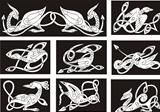 Celtic knot patterns with birds