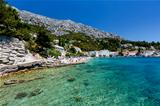 Beautiful Beach and Transparent Turquoise Adriatic Sea near Spli