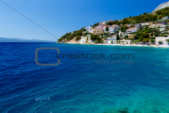 Deep Blue Sea with Transparent Water and Beautiful Adriatic Beac