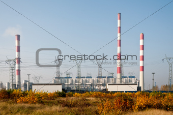 Power plant pylons and transmission power lines