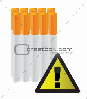 cigarettes behind a warning sign