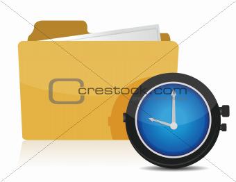 clock and folder