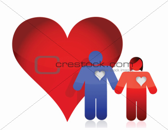 heart and lovely couple