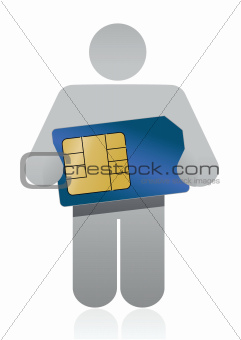 icon holding a sim card