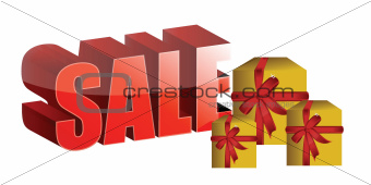 sale sign and gift boxes