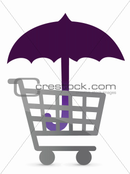 shopping protected by an umbrella
