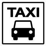 Black and White Taxi Sign