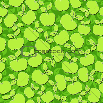 green apples with leaves seamless background