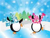Penguins Pair Ice Skating in Winter Scene Illustration