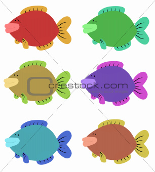 Six Colourful Fish