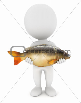 3d white people caught a carp fish