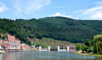 View of a German town from the Neckar river