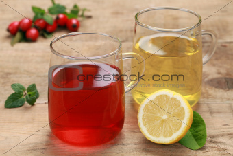 Lemon and rosehip tea