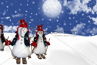 Skiing snowmen