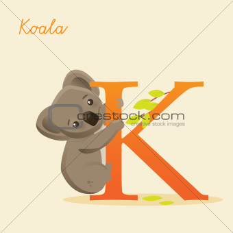 Animal alphabet with koala