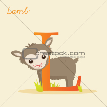 Animal alphabet with lamb