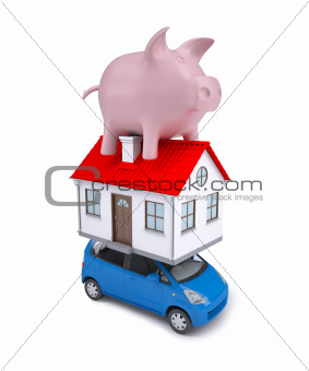 The composition of the car, the house and a pink piggy bank