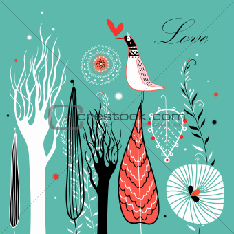 card with leaves and a bird in love