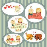 Valentines Day, set of stickers