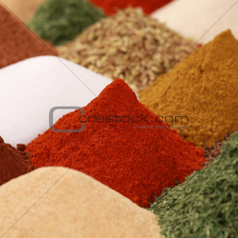 Spices and herbs on a bazaar