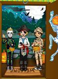 Halloween night background with pumpkins on porch and children