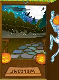 Halloween night background with trees fall colors