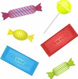 Illustration of isolated candies set on white background