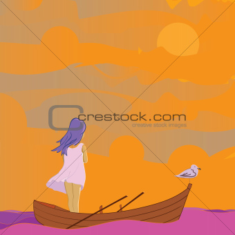 girl and saegulls