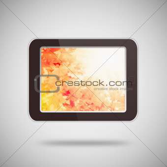 Tablet pc on gray background