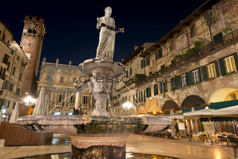 Piazza delle Erbe by Night in Verona Italy