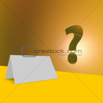 blank card and question mark