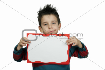 Unhappy Boy who holds white board.