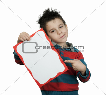 Little boy points whiteboard