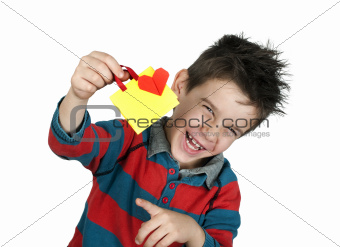 Boy who laughs and holds Shopping bag with heart.