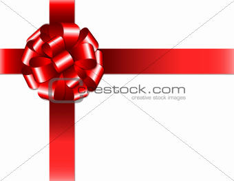 Shiny red ribbon with bow on white background.